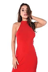 Картинки Liya Silver Шатенки Смотрит Белый фон Рука Платье Красная молодые женщины