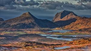 Обои Лофотенские острова Гора Пейзаж Норвегия Justadtinden Природа