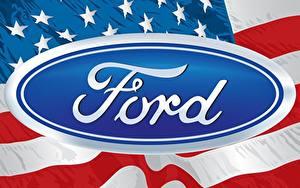 Фотографии Логотип эмблема Ford Американские Флаг