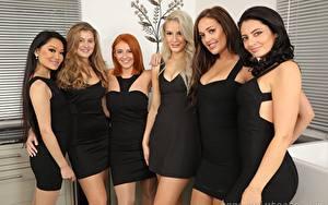 Фотография Louisa Lu Becky Bond Lucy Ava Hollie Q Robyn J Paige F Only Брюнетка Блондинок Рыжих Русых Смотрит Улыбается Платья девушка