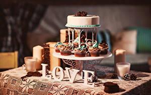Картинки Любовь Торты Сладкая еда Капкейк кекс