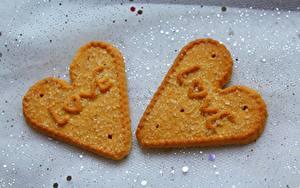 Фото Любовь Печенье Сердце Английская Двое Сахара Продукты питания