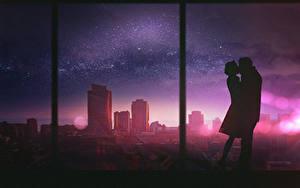 Обои Любовь Дома Две Окно Силуэт Фэнтези