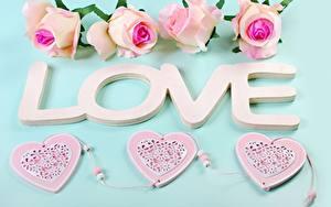 Обои Любовь Роза День всех влюблённых Слова Английская Сердечко цветок