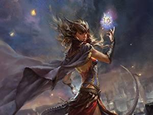 Фотографии Волшебство Шлем Плащ С рогами Фантастика Девушки