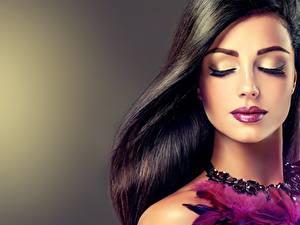 Картинка Мейкап Лицо Волосы Красивые девушка