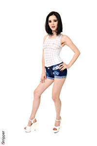 Картинка Malena Fendi iStripper Белый фон Поза Брюнеток Руки Шорты Ног Туфли Девушки