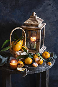 Картинки Мандарины Свечи Корзина Еда