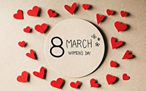 Фото Международный женский день Цветной фон Английский Сердечко