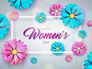 Фотография Международный женский день Цветной фон Шаблон поздравительной открытки Слова Английская цветок