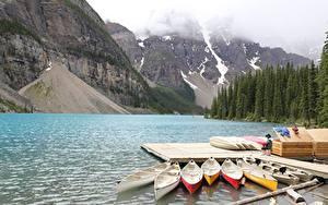 Обои Пирсы Лодки Озеро Гора Парк Канада Moraine Lake, Alberta