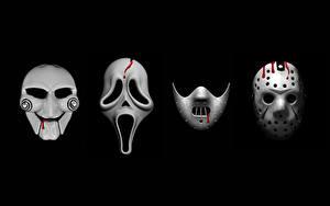 Фотографии Маски Крик фильм Пятница 13 Пила На черном фоне Silence of the Lambs, Jason's mask кино