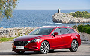 Картинки Mazda Красный Металлик 2018-19 Mazda6 Wagon Worldwide Автомобили