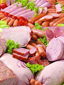 Обои Мясные продукты Ветчина Колбаса Сосиска Нарезка