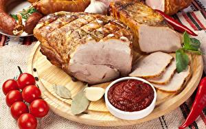Фотография Мясные продукты Ветчина Помидоры Кетчупом