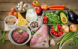 Фотографии Мясные продукты Молоко Овощи Сыры Мюсли Грибы Помидоры Яблоки Чеснок Кувшины Пища