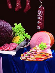 Картинка Мясные продукты Колбаса Ветчина Овощи Нарезка