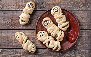 Фотографии Мясные продукты Доски Дизайн Тарелке Кетчупа