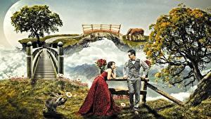 Фотография Мужчины Мосты Еноты Двое Дерево Очков Платье Фантастика