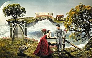 Фотография Мужчины Мосты Еноты Двое Деревья Очки Платье Фантастика