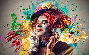 Фотография Мужчины Клоун Шляпа Мейкап Наушники