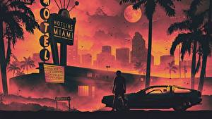 Фотография Мужчины DeLorean Ретровейв Отеля Пальмы Луна DMC-12 Hotline Miami Города Автомобили