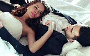 Обои Мужчины Любовь Двое Шатенка Невеста Жених Девушки