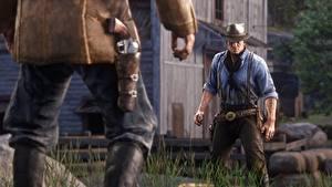 Обои для рабочего стола Мужчины Red Dead Redemption 2 Револьвера Arthur Morgan Игры 3D_Графика