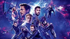 Картинки Мужчины Скарлетт Йоханссон Robert Downey Jr Крис Эванс Chris Hemsworth Avengers: Endgame кино