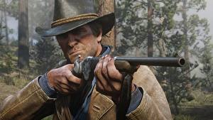 Фото Мужчины Ружьё Red Dead Redemption 2 Шляпа Рука Arthur Morgan Игры 3D_Графика