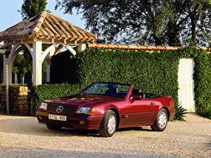 Картинка Мерседес бенц Бордовый Металлик Кабриолет 1991-93 600 SL Автомобили