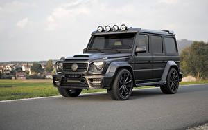 Фото Mercedes-Benz Гелентваген Черный Асфальта 2015 Mansory Gronos G-Class W463 Gelandewagen Автомобили