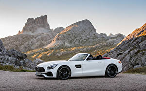 Фотографии Мерседес бенц Белые Металлик Родстер 2016 AMG GT Roadster