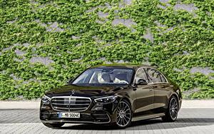 Фотографии Мерседес бенц Металлик Черных 2021 S 580 e lang AMG Line Worldwide машины