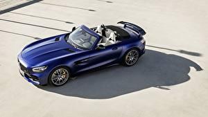 Картинка Мерседес бенц Синяя Родстер AMG GT R 2019 машины