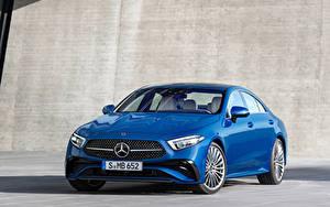 Картинки Мерседес бенц Синий Металлик CLS 350 AMG Line, Worldwide, (C257), 2021 машина