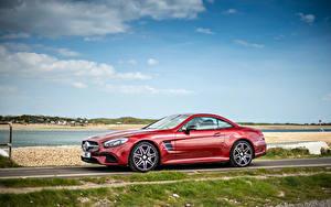 Фотографии Mercedes-Benz Небо Сбоку Родстер AMG SL-Class Roadster R231 Машины