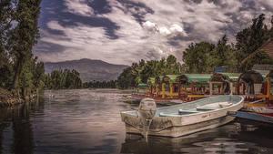 Фотографии Мексика Вечер Пирсы Речка Лодки Xochimilco Природа