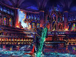 Обои Средневековье Рыцарь Храмы Доспехах Меч Фантастика