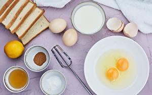 Картинка Молоко Хлеб Лимоны Тарелка Яйца Солью Миска Продукты питания