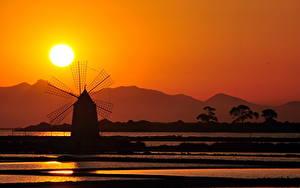 Картинки Ветряная мельница Солнца Силуэт Природа