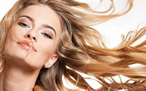 Фотографии Модель Красивый Макияж Волосы Взгляд Белый фон молодые женщины