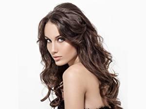 Фото Модель Шатенки Красивые Мейкап Волосы Взгляд