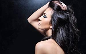Фотография Фотомодель Брюнетка Волосы Мейкап Девушки