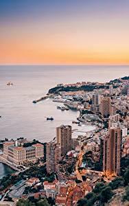 Обои для рабочего стола Монако Монте-Карло Дома Берег Сверху Города