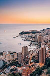 Фотографии Монако Монте-Карло Дома Берег Сверху Города