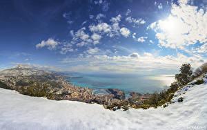 Фотографии Монако Гора Небо Облако Снега Природа