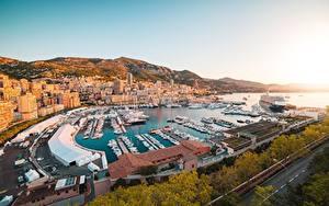 Обои Монако Рассвет и закат Монте-Карло Пирсы Корабль Яхта Здания