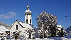 Картинка Монастырь Зима Швейцария Снегу Дерева Ilanz, Graubünden, Surselva Города