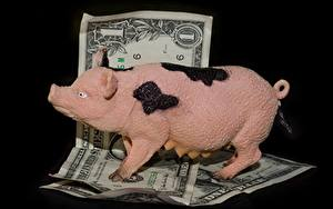 Картинка Деньги Банкноты Доллары На черном фоне Свинья копилка
